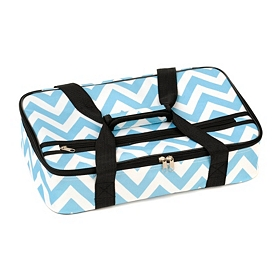 Insulated Blue Chevron Casserole Carrier