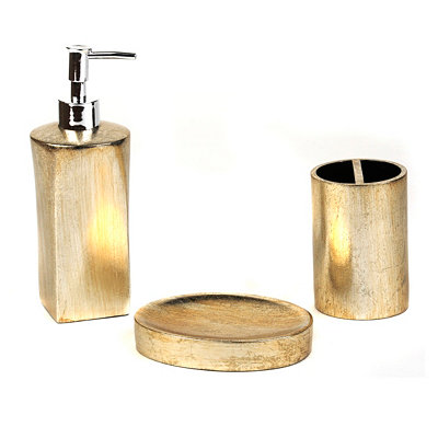 3-pc. Gold Foil Bath Accessory Set