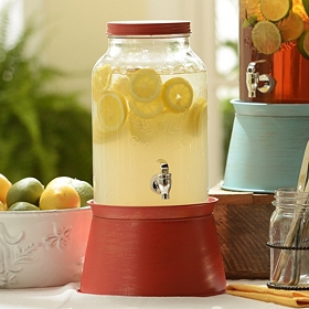 Red Galvanized Beverage Dispenser