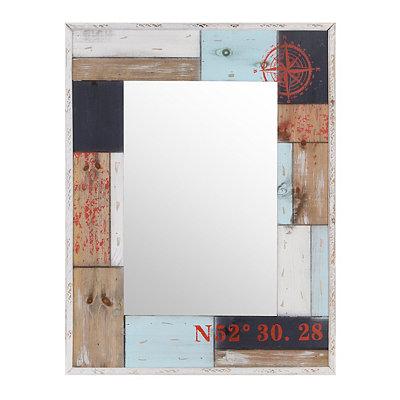 Wooden Patchwork Captain's Mirror, 26x33.5