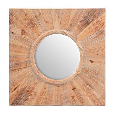 Natural Wood Decorative Mirror