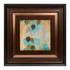 Teal Leaves I Framed Art Print