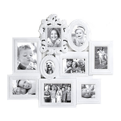 Ornate 9-Opening Ivory Collage Frame