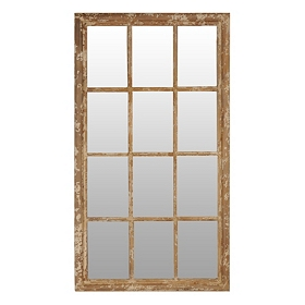 Distressed Tan 12-Panel Mirror