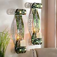 Set pf 2 Green Parker Scroll Sconce