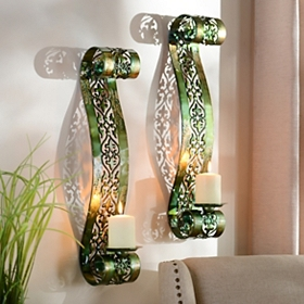 Green Parker Scroll Sconce, Set of 2