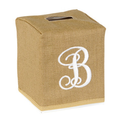 Burlap Monogram B Tissue Holder