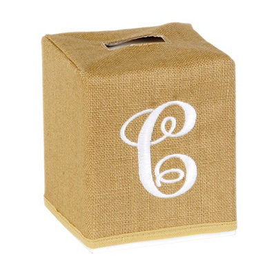 Burlap Monogram C Tissue Holder
