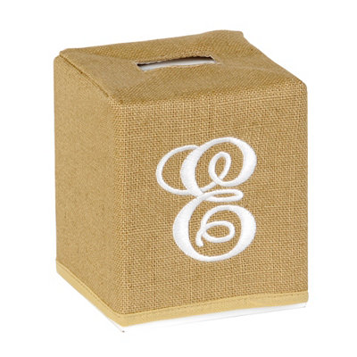 Burlap Monogram E Tissue Holder