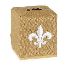 Burlap Fleur-de-lis Tissue Holder