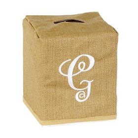 Burlap Monogram G Tissue Holder