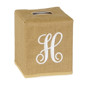 Burlap Monogram H Tissue Holder