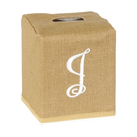 Burlap Monogram J Tissue Holder
