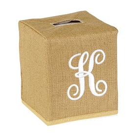 Burlap Monogram K Tissue Holder