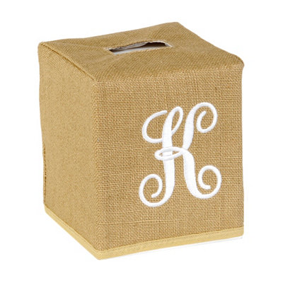 Burlap Monogram K Tissue Holder