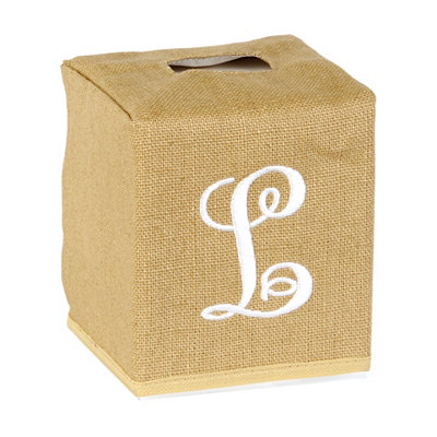 Burlap Monogram L Tissue Holder