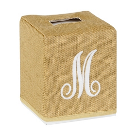 Burlap Monogram M Tissue Holder