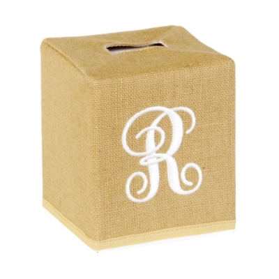 Burlap Monogram R Tissue Holder