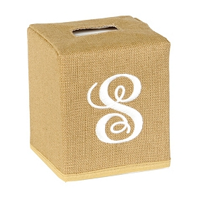 Burlap Monogram S Tissue Holder