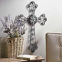 Turquoise Jeweled Metal Cross
