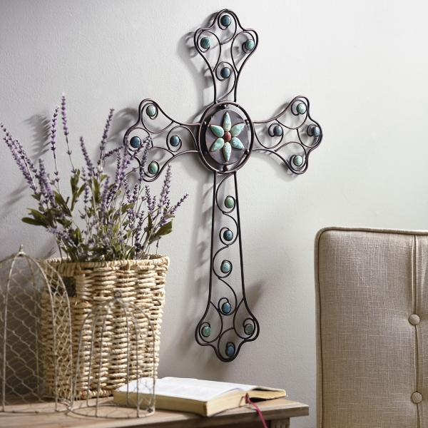Turquoise Jeweled Metal Cross