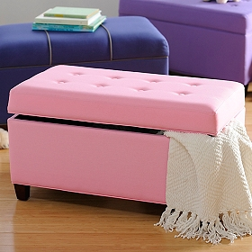 Girls Pink Storage Bench
