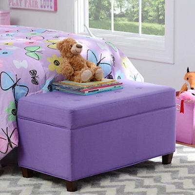 Girls Purple Storage Bench