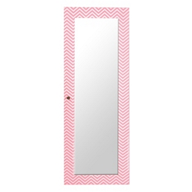 Pink Chevron Jewelry Armoire Mirror