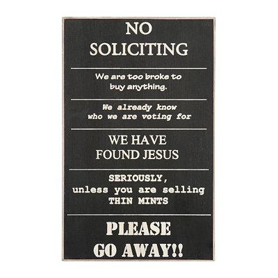 No Soliciting Wall Plaque