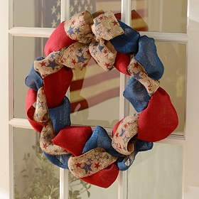 Americana Burlap Ribbon Wreath