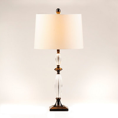 Bronze Crystal Taper Table Lamp