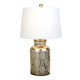 Silver Etched Damask Table Lamp