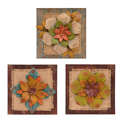 Metal Blooms Wall Plaques, Set of 3
