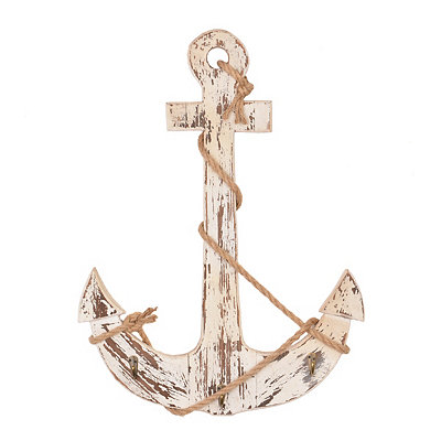 Distressed White Anchor Wall Plaque