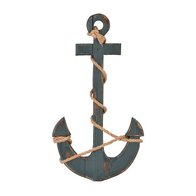 Navy Blue Anchor Wall Plaque