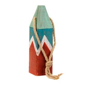 Blue, Green, & Red Wooden Buoy Statue