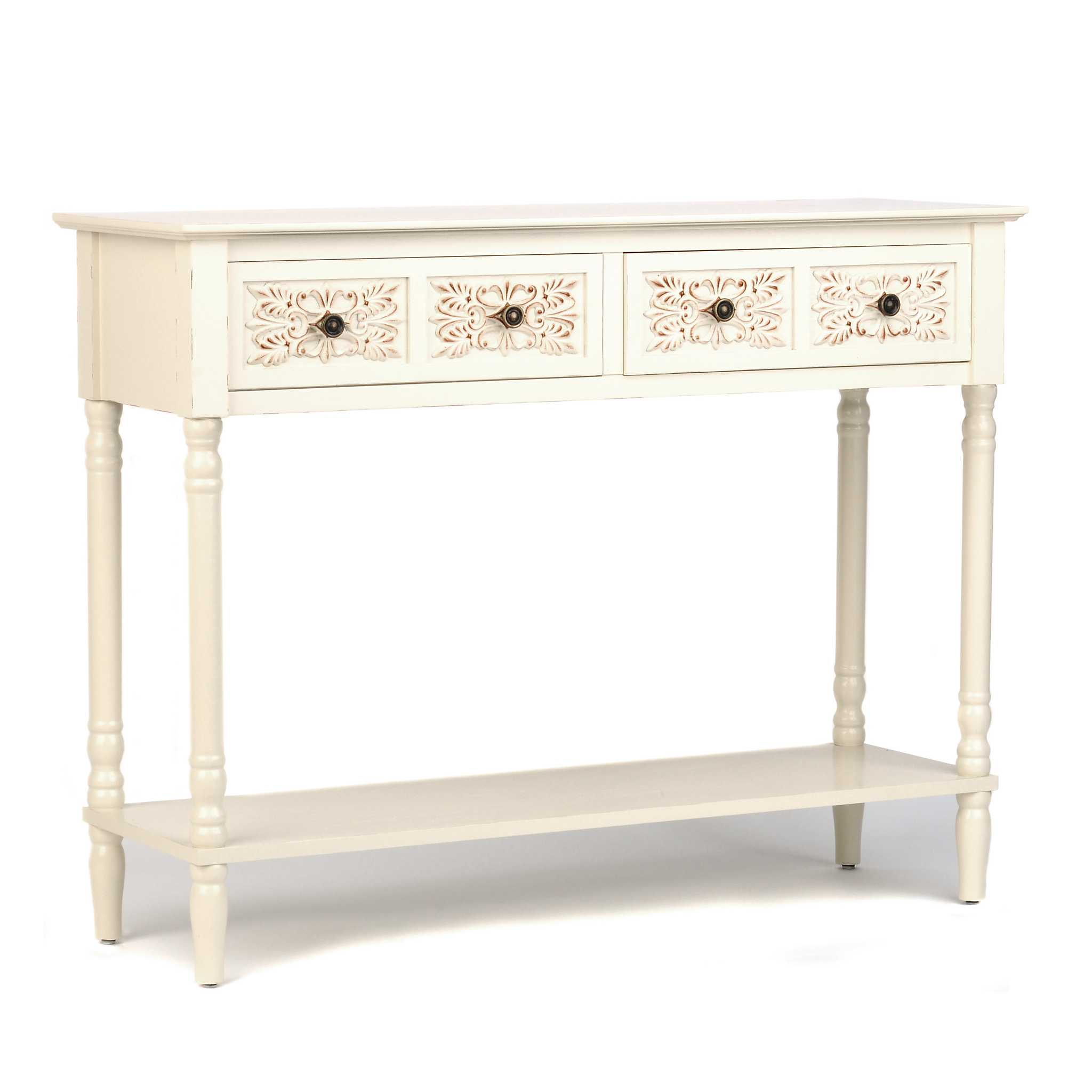 Cream medallion console table kirklands for Sofa table kirklands