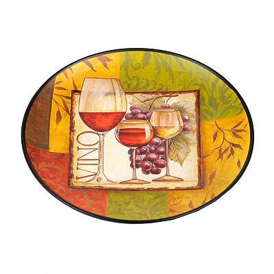 Three Glasses & Grapes Decorative Plate