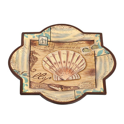 Tan & Teal Scallop Decorative Plate