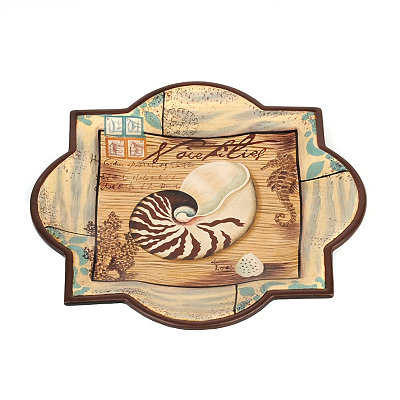 Tan & Teal Seashell Decorative Plate