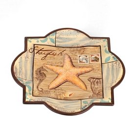 Tan & Teal Starfish Decorative Plate