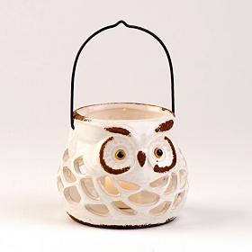 Pierced Ceramic Owl Lantern, Cream