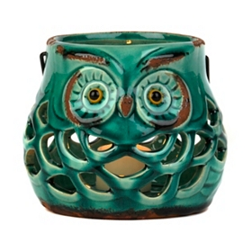 Pierced Ceramic Owl Lantern, Teal