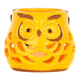 Pierced Ceramic Owl Lantern, Yellow