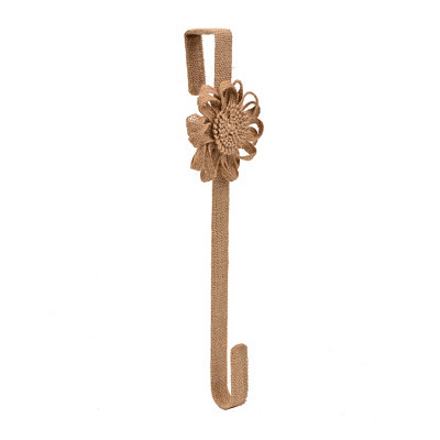 Tan Burlap Flower Wreath Hanger