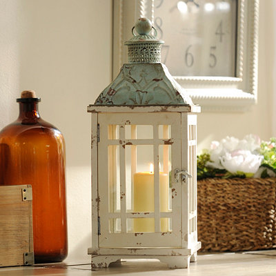 Distressed White and Teal Lantern