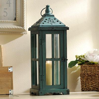 Distressed Turquoise Lantern