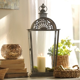 Brushed Silver Metal Lantern