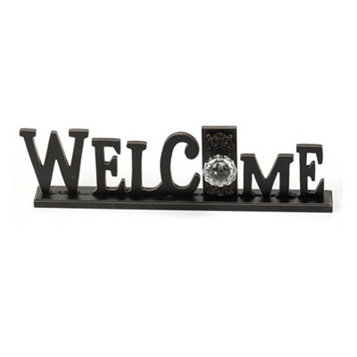 Distressed Black Welcome Word Plaque