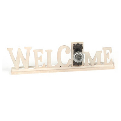Distressed Cream Welcome Word Plaque